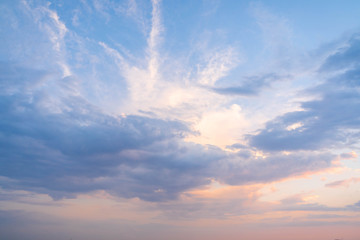Sky with clouds at sunset in Rome, Italy