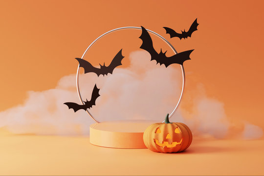 3D pedestal podium with cloud smoke on orange background. Flying bat and   pumpkin with frame rim. Halloween Jack o lantern display showcase, product promotion. Abstract spooky 3D render illustration