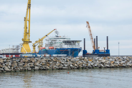 Nordstream 2 special pipe-laying vessel Akademik Cherskiy in the Baltic Sea, Port of Mukran, near Sassnitz on the Island of Rugen on August 21, 2020.