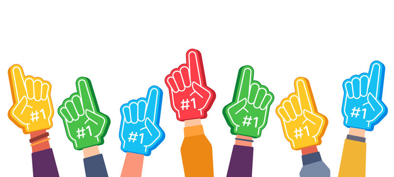 Fan foam fingers. Hands up with glove with number one, stadium supporter pride accessory, football victory symbol, success vector concept. Best sport team cheering, first place in competition