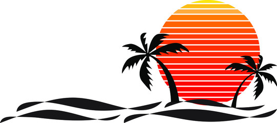 Vector of palm tree silhouettes on a gradient sunset and sea wave. Retro style 80s logo or icon illustration design Wall mural