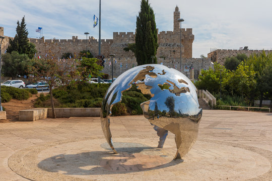Jerusalem, Israel - Oct 15, 2019: Statue of a big mirrored globe in Jerusalm