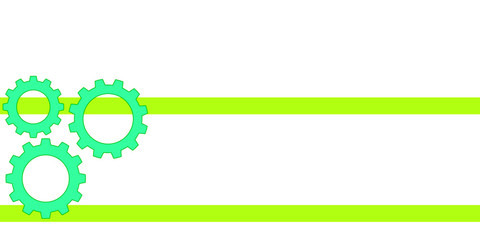vector illustration of gears with horizontal green stripes