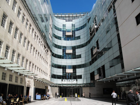 London, UK, May 14, 2014 : BBC New Broadcasting House in Portland Place which is a popular travel destination tourist attraction landmark stock photo image