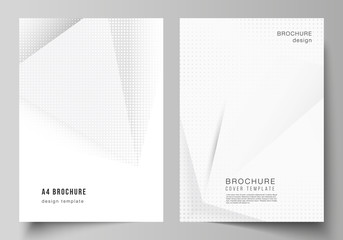 Vector layout of A4 cover mockups design templates for brochure, flyer layout, cover design, book design, brochure cover. Halftone dotted background with gray dots, abstract gradient background.