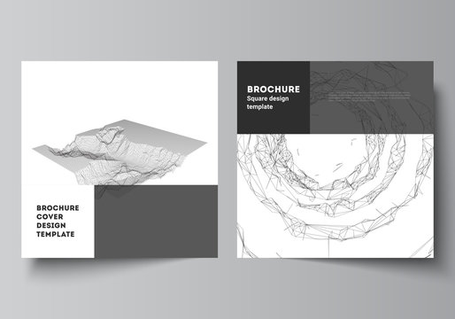 Vector layout of two square covers templates for brochure, flyer, magazine, cover design, book design, brochure cover. Abstract 3d digital backgrounds for futuristic minimal technology concept design.