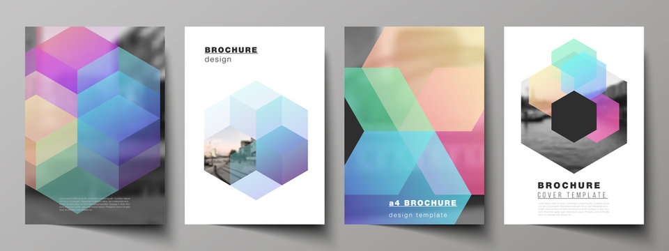 Vector layout of A4 format cover mockups design templates with colorful hexagons, geometric shapes, tech background for brochure, flyer layout, booklet, cover design, book design, brochure cover.
