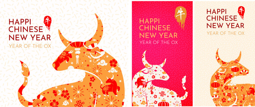 set Happy chinese new year 2021 Zodiac sign, year of the ox, background - template design for poster, banner, social media post. set of design design for instagram stories, suitable for postcards,