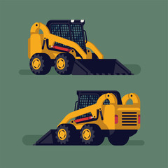 Cool vector flat design skid steer loader. Heavy industrial machinery item. Construction site equipment design element from different angles