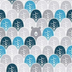 Bear in a forest seamless pattern. Vector design background.