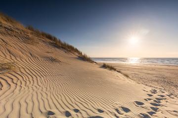 beautiful golden beach at sunset