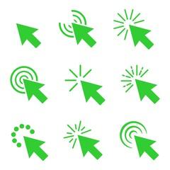 "Clicks cursor or pointer vector icon set. Press or click the button, link, or ""here""."