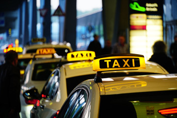COLOGNE, GERMANY - May 01, 2019: taxis standing in a row waiting for guests