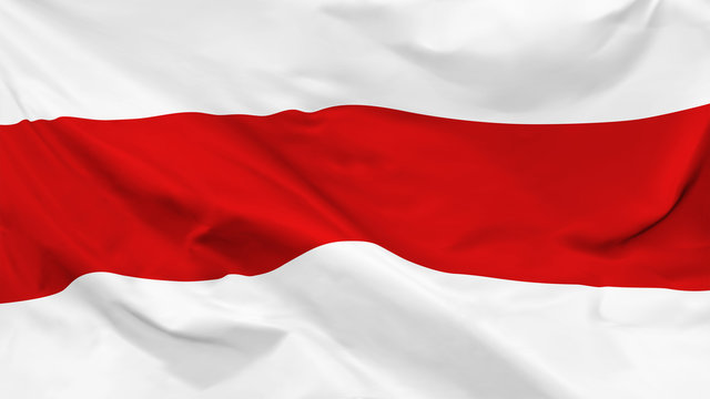 Fragment of a waving Belarusian historical flag in the form of background, aspect ratio with a width of 16 and height of 9, vector