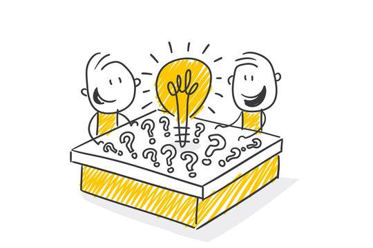 Strichfiguren / Strichmännchen: Idee, Glühbirne, Strategie, Teamwork. (Nr. 517)