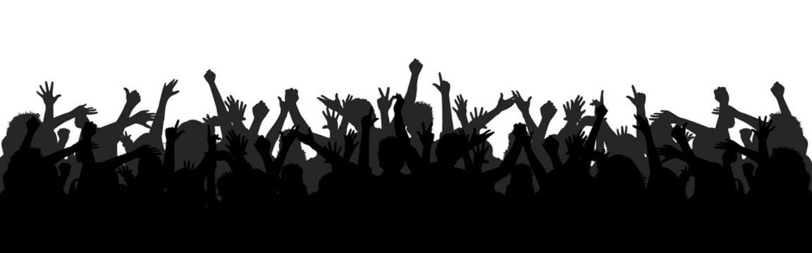 Set hands up revolution. Silhouettes of crowd of people with raised up hands. Protest, revolution, strike, demonstration concept. Political, human rights protest, power and solidarity