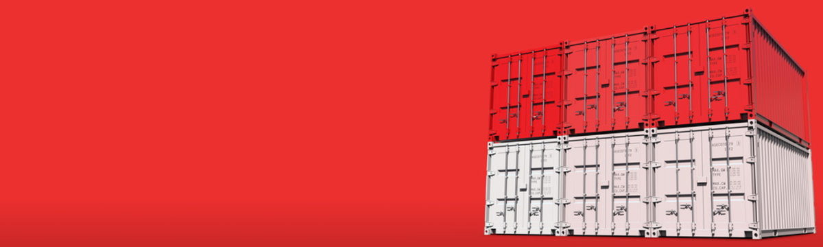 Cargo containers compose the flag of Indonesia on red background, 3D rendering