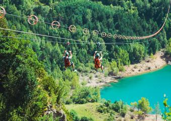 Zip line of Tena Valley in the aragonese Pyrenees