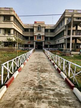 Wide angle shot of the Vivekananda Shiksha Niketan building at Joygopalpur in West Bengal state in India- 9th Feb 2018