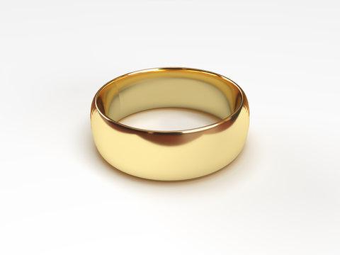 Wedding rings on white background. Render 3d