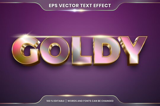 Text effect in 3d Goldy words text effect theme editable gradient metal gold and rose gold color concept