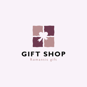 Romantic gift box logo design template vector illustration