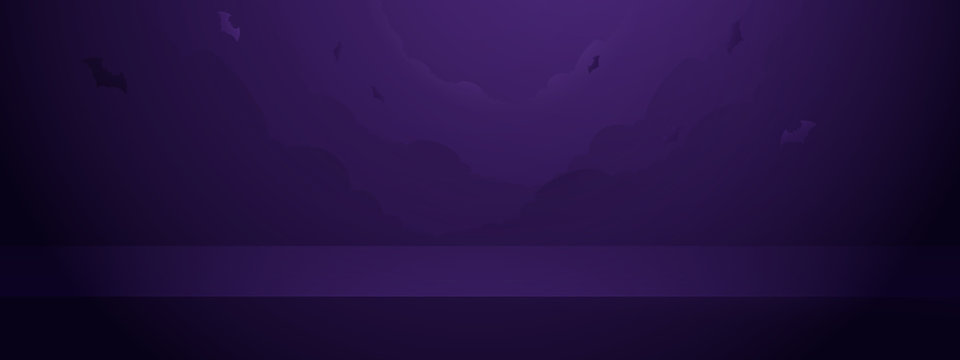 Abstract halloween night sky spooky with bats background. Empty vivid purple color studio table room layout design. Space banner for advertise. Vector illustration