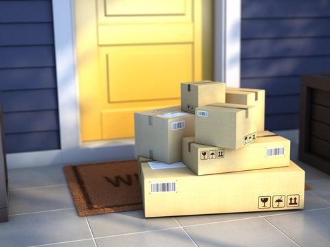 Online purchase delivery service concept. Cardboard parcel box delivered outside the door. Parcels on the door mat near entrance door. 3d rendering