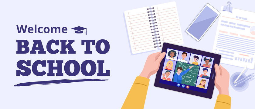 Back to school concept. Top view of a boy learning with tablet at home. Vector