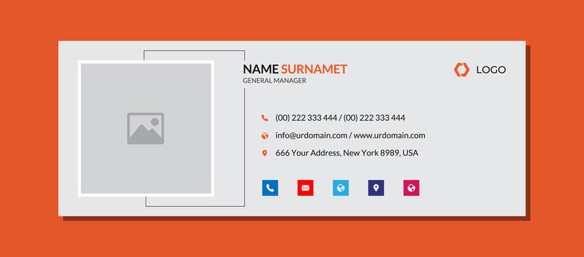 Modern email signature template with an author photo place