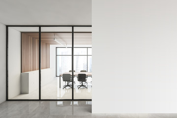 Wooden conference room and mock up wall