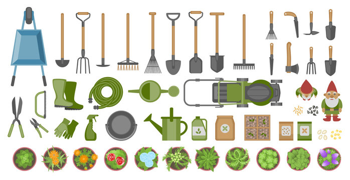 Garden tools and plants. Top view. Set of various gardening items. Flat design illustration of items for gardening. View from above.