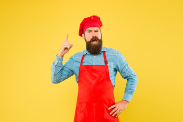 Fine dining redefined. best menu offer. confident bearded happy chef white uniform. Male chef in red uniform. mature hipster with inspired face. satisfied bearded chef. brutal butcher in apron