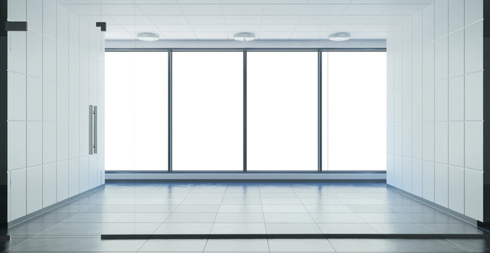 view of the windows in empty office without people