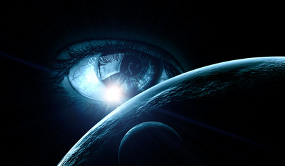 Wall Mural - Human eye and space. Elements of this image furnished by NASA.