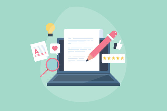 Digital writing, online blogging, content creation and text content writing on laptop screen,  research content and publishing on web. High quality content for engaging  website user, blog writing.