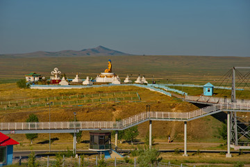 Darhan. Mongolia. June 12, 2015. A Buddhist complex of Buddha statues surrounded by stupas in the center of the city. It is a place of worship for Buddhists in North-Eastern Mongolia. Wall mural