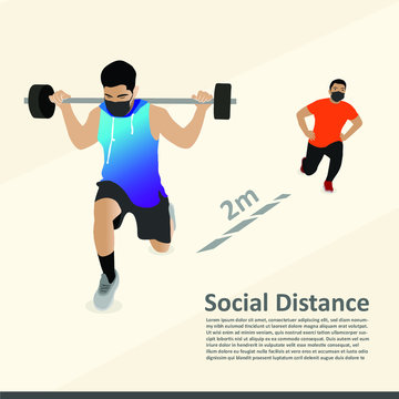 Social distancing in a gym. COVID-19 pandemic social distancing rules while working out in reopened indoor gym,prevent & protect. Two young guys working out in gym with social measures.