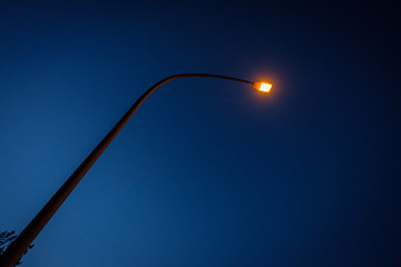 Street lights with blue sky