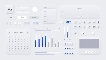 Web UI kit. Mobile application and web page interface elements with buttons field sliders and calendar. Vector illustration responsive UX graphics design template for site navigate Wall mural