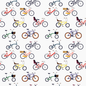 Urban different style bicycles seamless pattern on bright background in trendy flat vector design