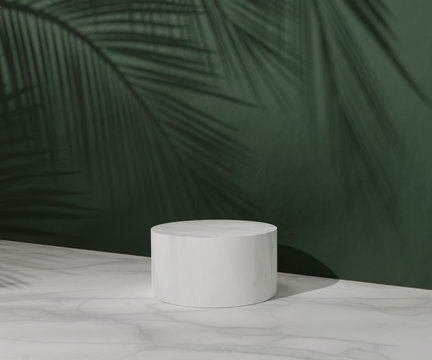 3D White pedestal podium with palm tree leaf shadow over dark green natural background wall. Marble summer display showcase for beauty cosmetics products. Trendy Abstract studio 3d render illustration