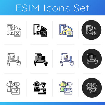 Craftsmanship icons set. 3D model for building prototype. Self publish document. Fashion industry. Designer studio. Tailor workshop. Linear, black and RGB color styles. Isolated vector illustrations