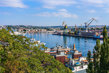 View of the sea port and the southern Bay in the city of Sevastopol in the Crimea Fotomurales
