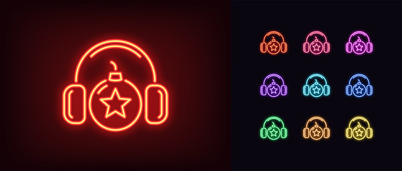 Neon bomb icon. Glowing neon bomb with headphones and star sign, explosive sound
