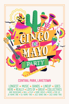 Quality vector poster template on traditional mexican holiday Cinco de Mayo. Colourful vertical banner layout for festival event in celebration of Fifth of May featuring multiple mexican themed items