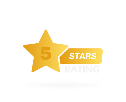 Five stars customer product rating review. Badge design with star label. Modern vector illustration