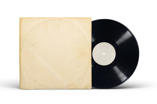 Paper cover and vinyl LP record isolated on white.