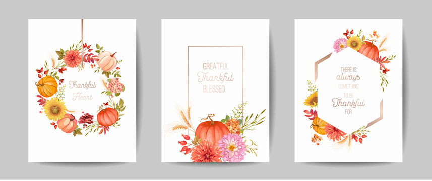Set of Thanksgiving Day greeting, invitation card, flyer, banner, poster template. Autumn pumpkin, flower, leaves, floral design elements. Vector illustration