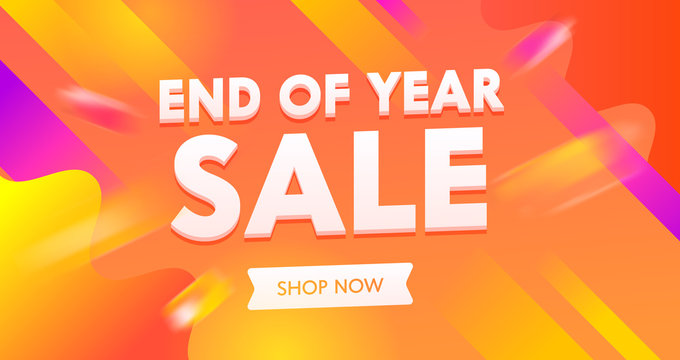 End of Year Sale Advertising Banner with Typography on Colorful Background. End of Season Backdrop Content Promo Flyer